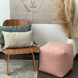 Herringbone Pink poef 40*40*40cm